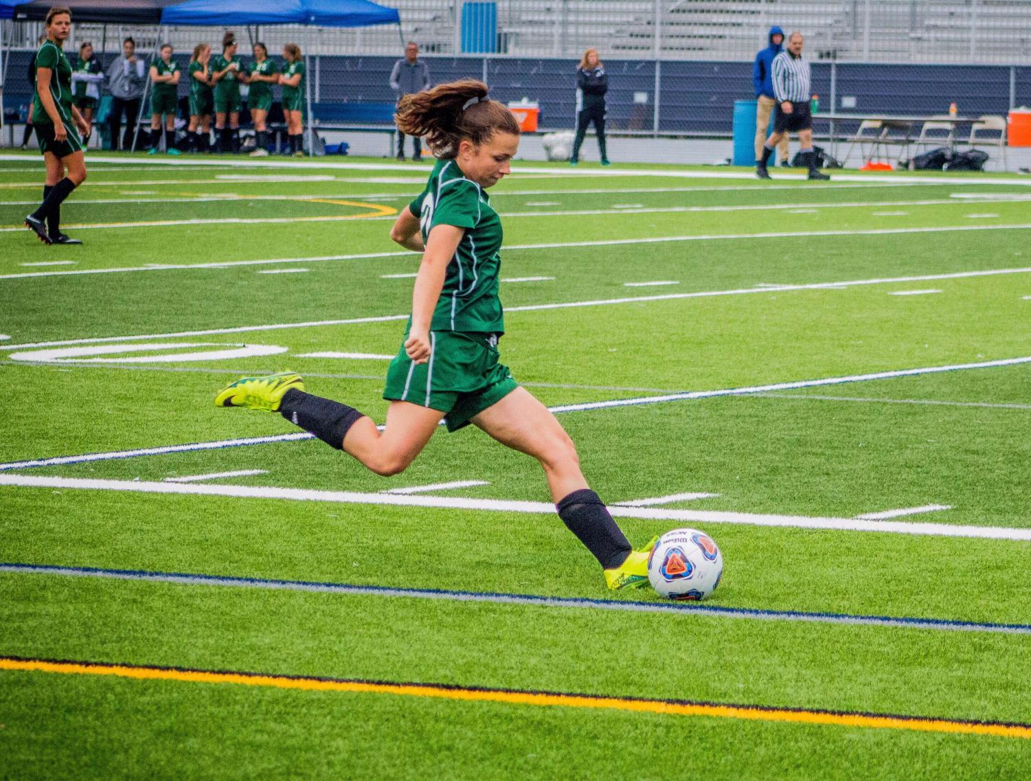 One of the strikers of Girls' Varsity Soccer, Addy Crouse (9), was a strong attribute to the team before becoming afflicted with a concussion during a game against Greencastle