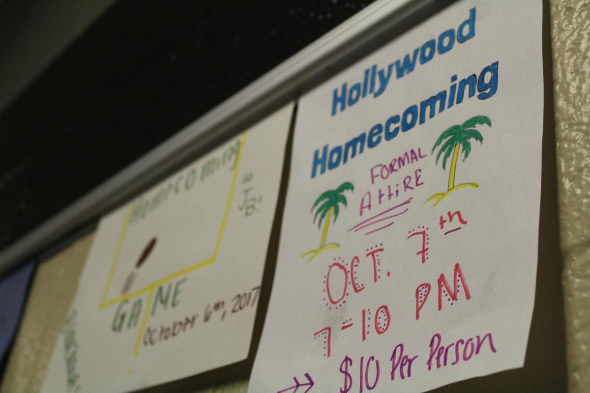 StuCO+prepares+for+Homecoming+with+signs+that+explains+the+theme+days+of+the+week.+