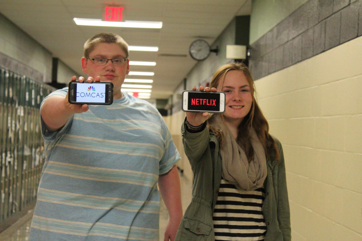 Displaying their preferences of cable TV or Netflix are Colby Shingler (11) and Carlee Jackson (11).