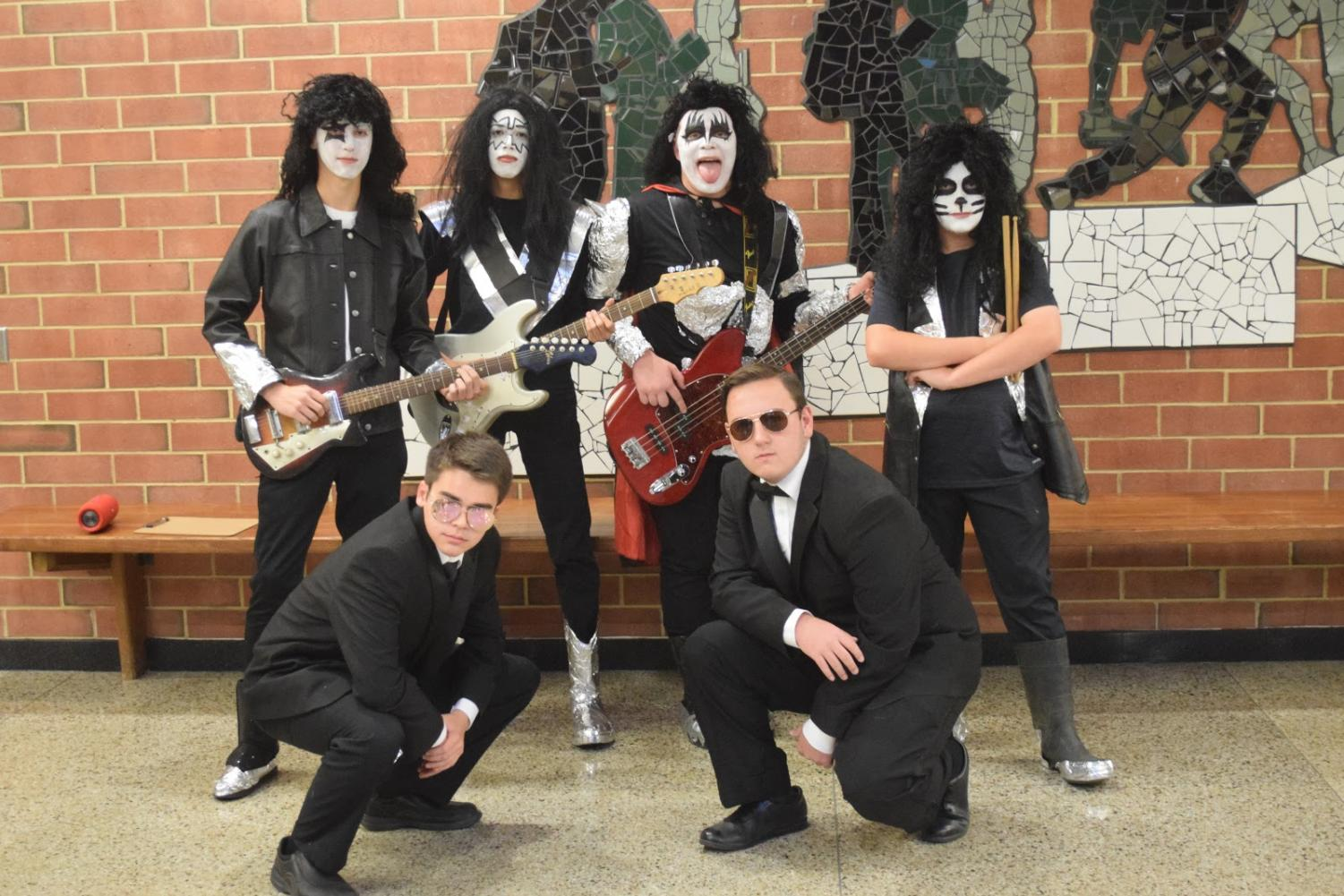 Getting into the Halloween spirit, Jacob Troupe (11), Nick Alfree (11), Patrick Hicks (11), Zach Slodysko (11), Dylan Poffenberger (11), and Mason Younker (11) dress up as the band KISS.