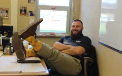 On his last day at JBHS, Mr. Colby Sites (Faculty) shows off his crazy taco socks.